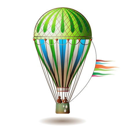 float fun: Colorful hot air balloon with silhouettes isolated on white background  Illustration