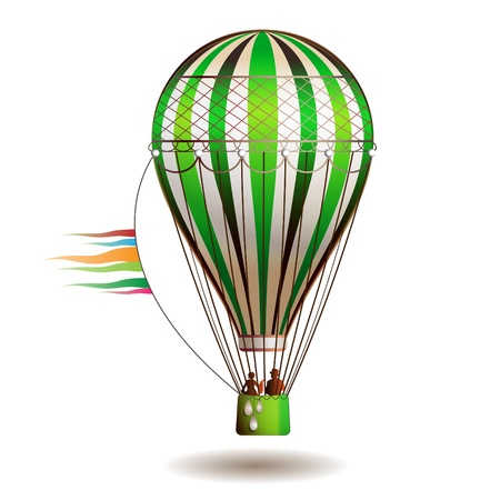 aloft: Colorful hot air balloon with silhouettes isolated on white background  Illustration