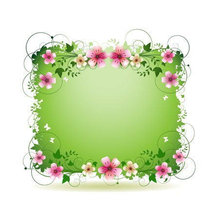 Green background with flowers and butterflies isolated on white Stock Vector - 9100267