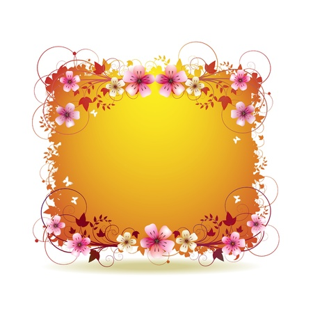 Orange background with flowers and butterflies isolated on white Stock Vector - 9100271