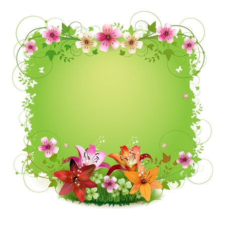Green background with flowers and butterflies isolated on white  Stock Vector - 9100300