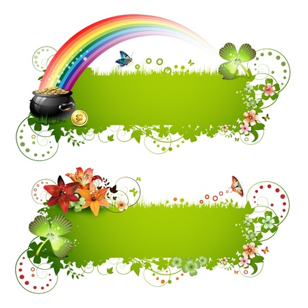 st  patrick: Patrick background with flowers and butterflies isolated on white