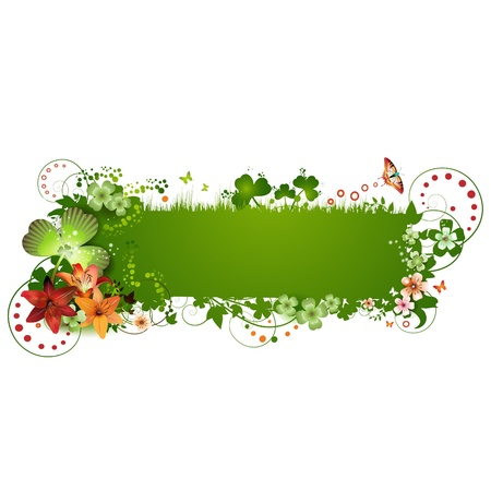 patric: St. Patrick background with flowers and butterflies isolated on white Illustration