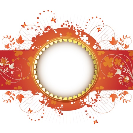 springtime flowers: Banner design for springtime card isolated on white background  Illustration