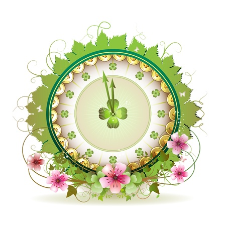 patric icon: Clock design with St. Patricks Day theme and flowers