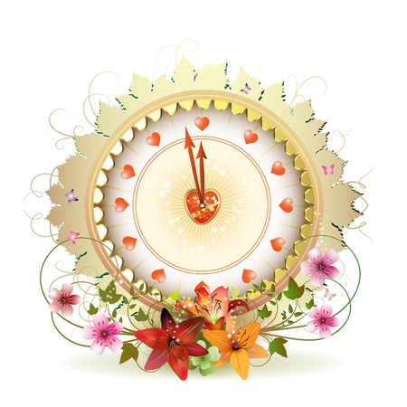Clock design with Valentines day theme and flowers Vector