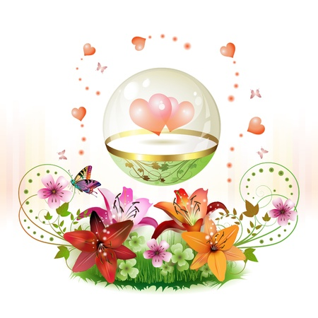 Hearts in glass globe decorated with flowers for Valentines day  Vector
