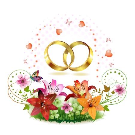 heiraten: Zwei Hochzeitsring mit Herzen und dekorierten Blumen isolated on white background