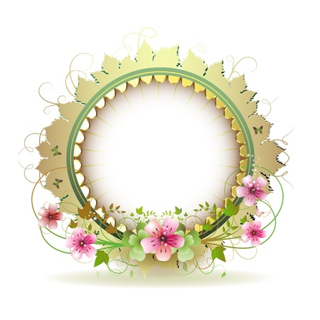 arrangement: Floral frame in circle with gold decoration