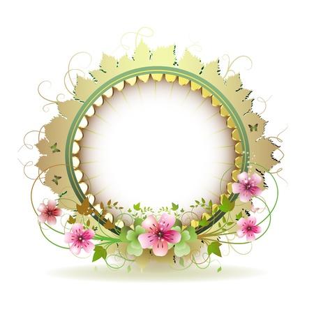 Floral frame in cirkel met gouden decoratie