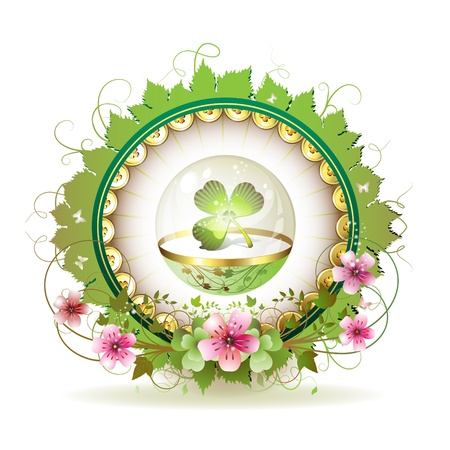 patric icon: Circular floral frame with clover in glass globe and gold decoration for St. Patricks Day