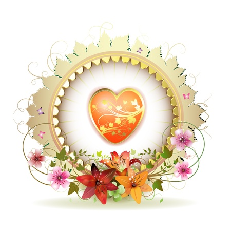 Circular floral frame with heart, lilies and gold decoration for Valentines day  Vector