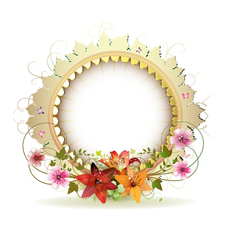 Circular floral frame with lilies and gold decoration  Vector