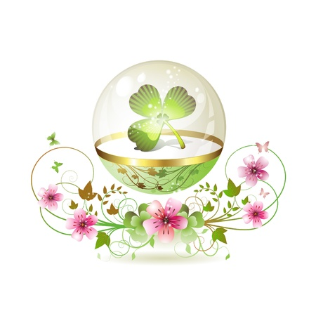 patrick backdrop: Clover in glass globe with flowers and butterflies for St. Patricks Day