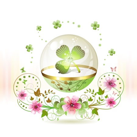 Clover in glass globe with flowers and butterflies for St. Patricks Day  Vector