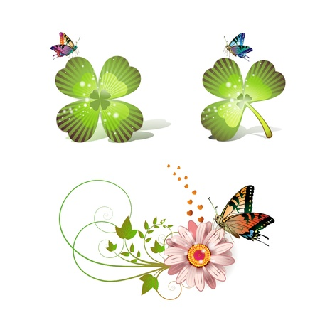 Flowers arrangement and clover with butterflies  Vector