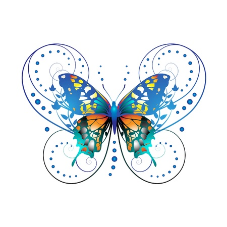 mariposa azul: Mariposa estilizada con ramas espirales aislado sobre fondo blanco  Vectores