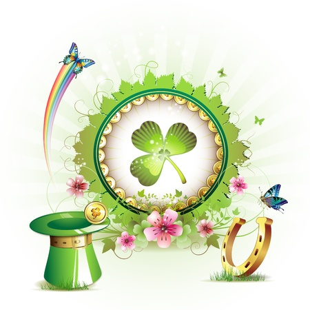 St. Patrick's Day card design with flowers, butterflies and clover Stock Vector - 9100279