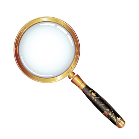 optical glass: Magnifying glass isolated over white background