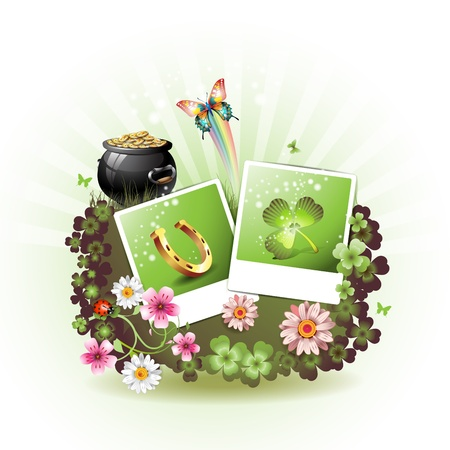 St. Patrick's Day card design. with flowers, butterflies and photos Stock Vector - 9100284