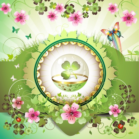 St. Patricks Day card, clover in glass globe with flowers and butterflies Vector