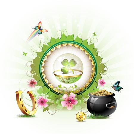 St. Patricks Day card design with flowers, butterflies and clover in glass globe Vector