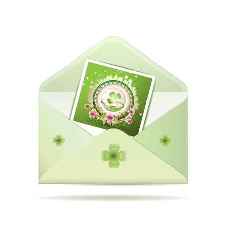 Envelope with photo and clover for St. Patrick's Day, icon, item isolated on white background Stock Vector - 9100264