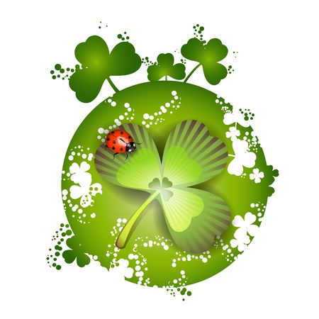 patric: St. Patricks Day card design and clover and ladybug