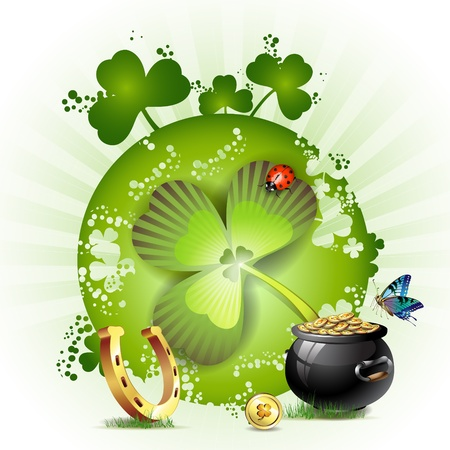 St. Patrick's Day card design with butterfly and clover Stock Vector - 9100262
