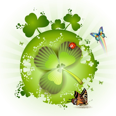 St. Patricks Day card design with butterflies, clover and ladybug  Vector