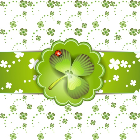 St. Patrick's Day card design with clover and ladybug Stock Vector - 9100249