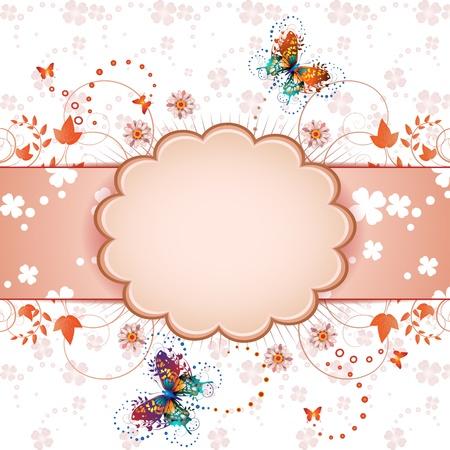 springtime flowers: Banner design for springtime card  Illustration