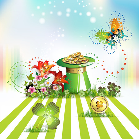 St. Patrick's Day card design with topper, flowers, butterflies and clover Stock Vector - 9100314