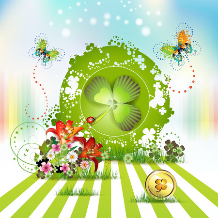 St. Patrick's Day card design with flowers, butterflies and clover Stock Vector - 9100310