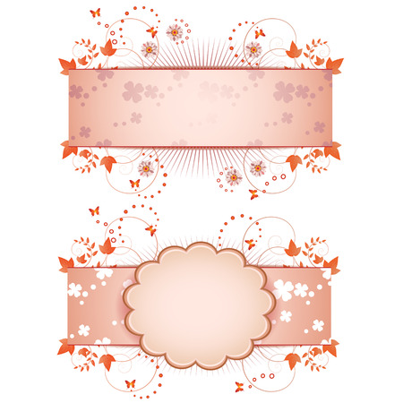 pink daisy: Banner design for springtime card isolated on white background  Illustration
