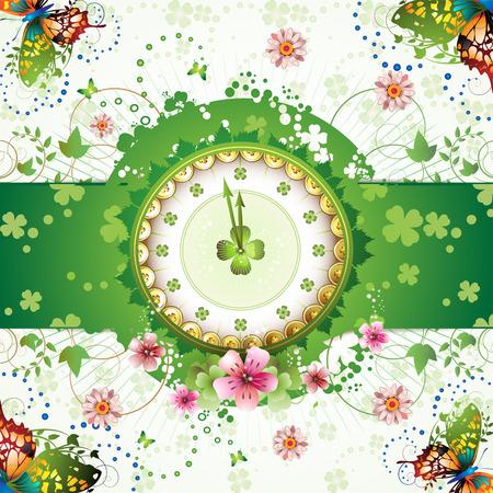 mars: Horloge design avec le th�me de la journ�e de St. Patrick et fleurs