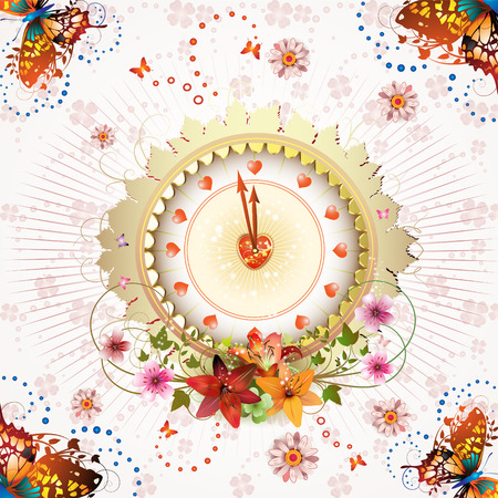 Clock design with Valentines day theme over springtime background Vector