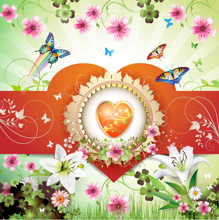 Valentine's day card. Heart and butterflies over springtime background Stock Vector - 9100315