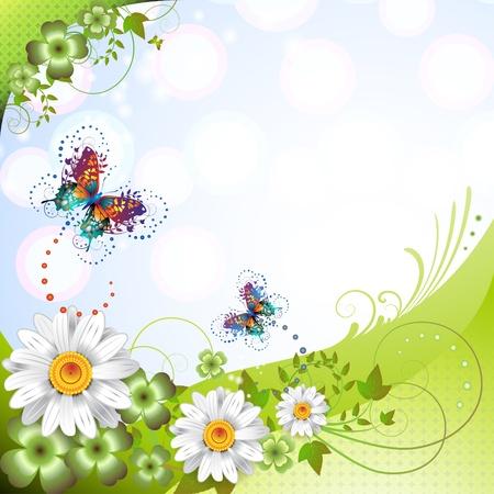 Arrière-plan de printemps avec des fleurs et de papillons