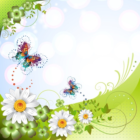 Fondo de primavera con flores y mariposas