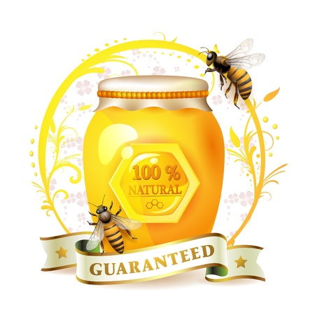 honey jar: Bees with glass jar and honey over floral background isolated on white