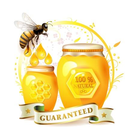 miel de abeja: Frasco de vidrio con miel y abejas sobre fondo floral aislado en blanco