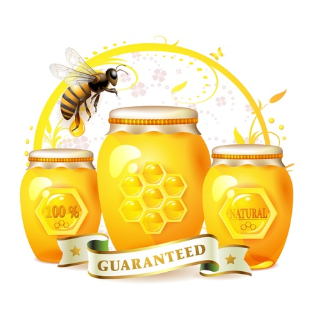 Glass jar with honey and bee isolated on white  Vectores