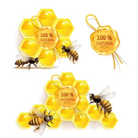 miel de abeja: Abejas con panales y sello de calidad aislado en blanco Vectores