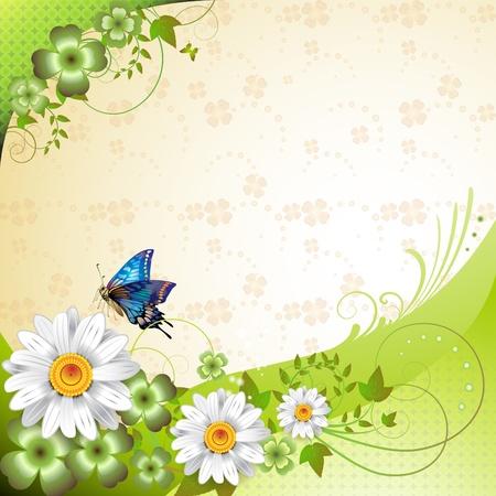 Arrière-plan de printemps avec des fleurs et de papillons Vecteurs