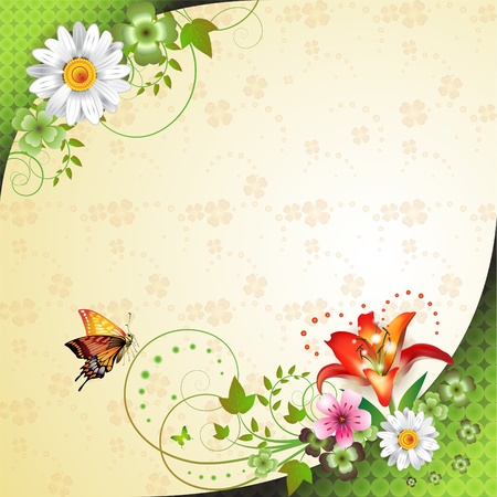 simple life: Springtime background with flowers and butterflies