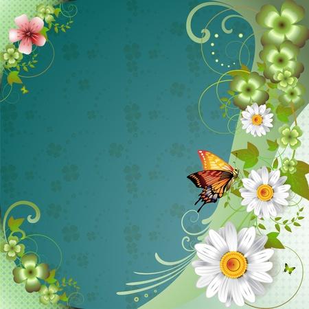 cool backgrounds: Fondo de primavera con flores y mariposas