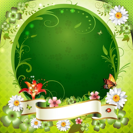 Springtime background with flowers, frame and butterflies  Vector