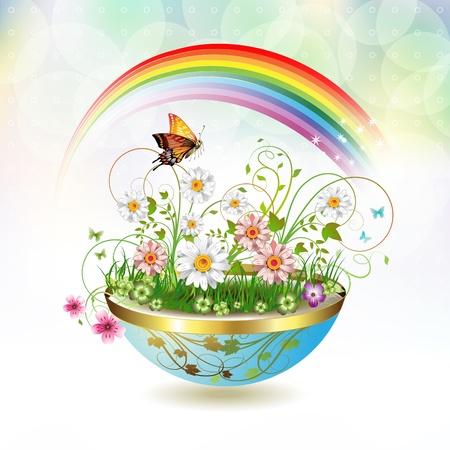 rainbow sky: Flowers in flowerpot and butterflies
