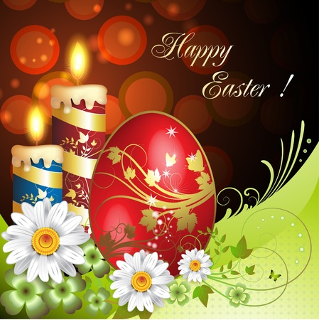 gold eggs: Easter card with flowers, candles and decorated egg